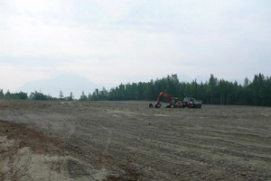 Fireweed Road in Wasilla Alaska, dirt field with nothing in it